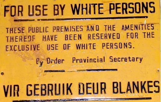 Placa durante el Apartheid